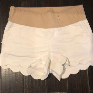 Loft white scalloped maternity shorts